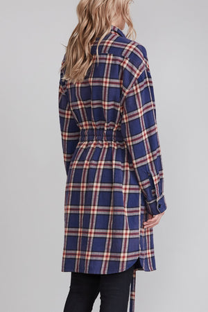 Oversized Shirt Dress - Navy Plaid