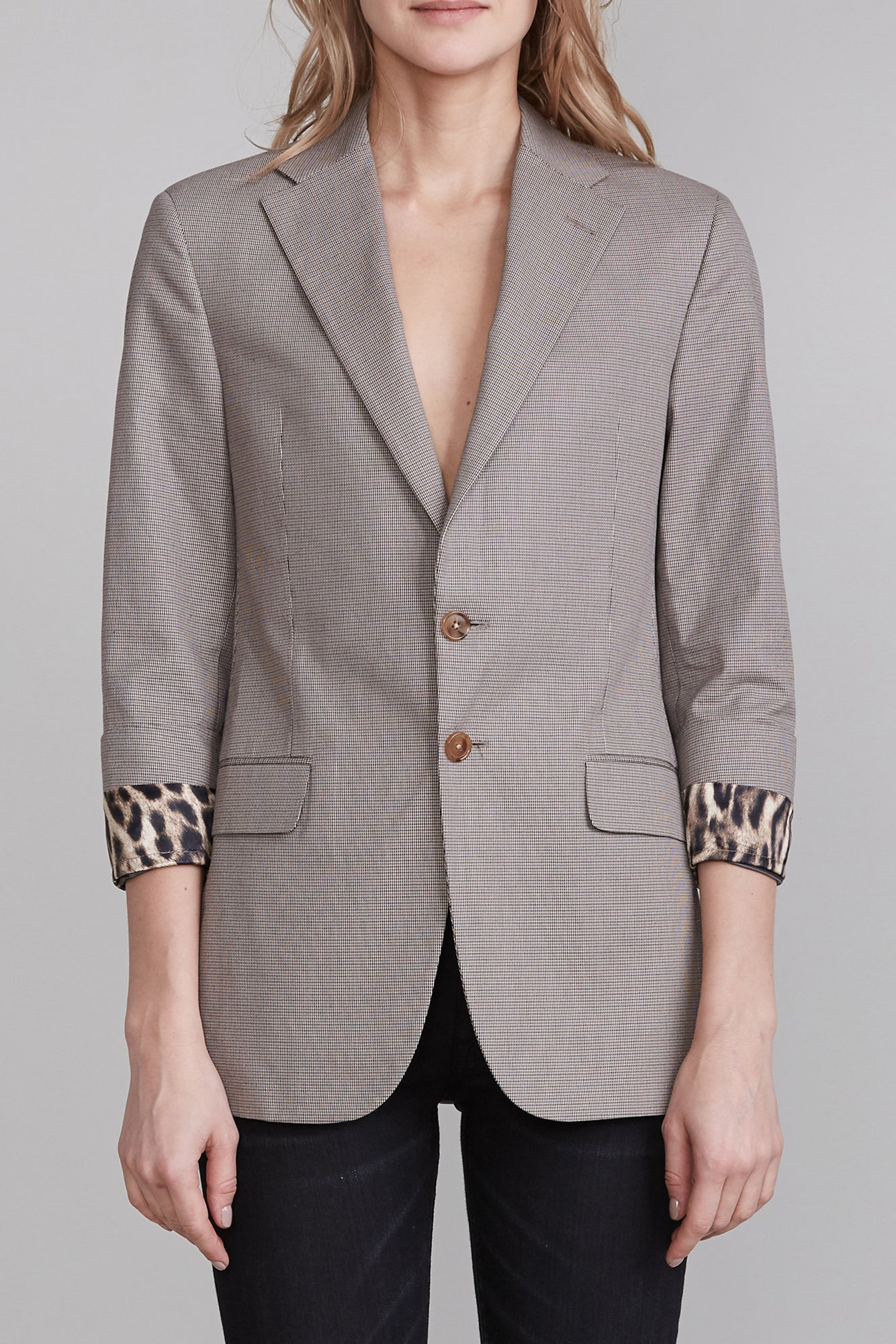 Blazer with Fold Over Cuff - Mini Houndstooth