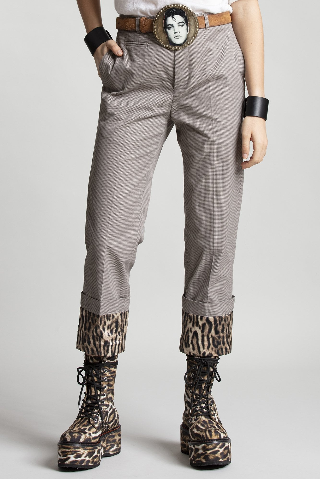 Fold Over Cuff Trousers - Mini Houndstooth