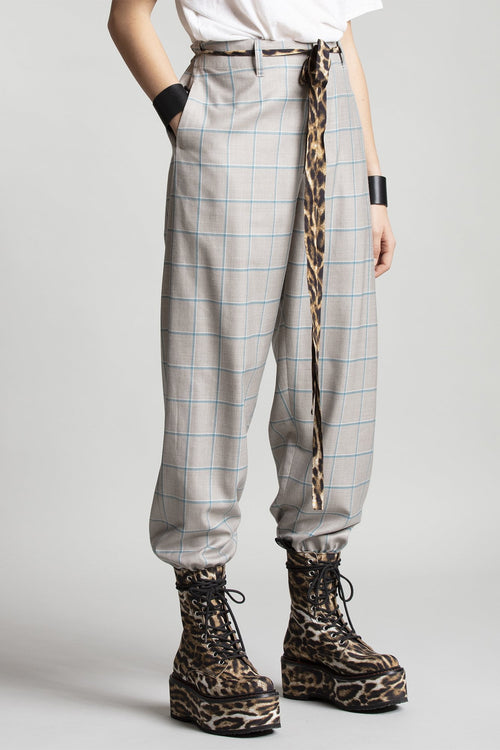 Cinched Waist Trouser - Grey and Blue Plaid