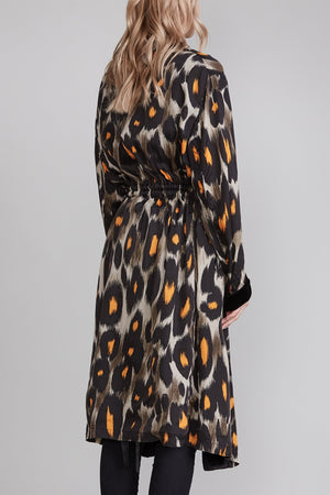 Robe With Cinched Waist - Grey and Orange Leopard