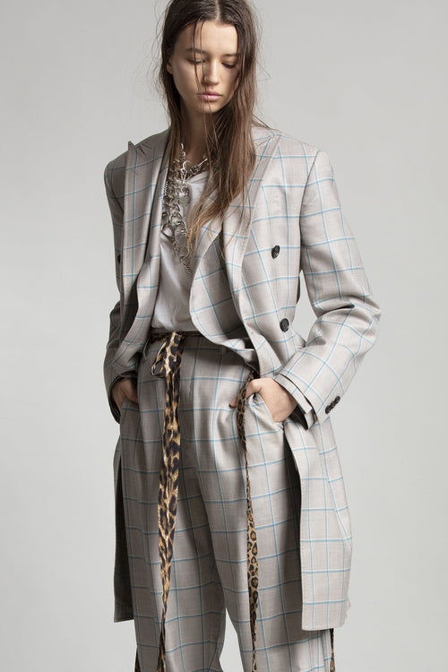 Peak Lapel Double Breasted Coat with Cinched Waist