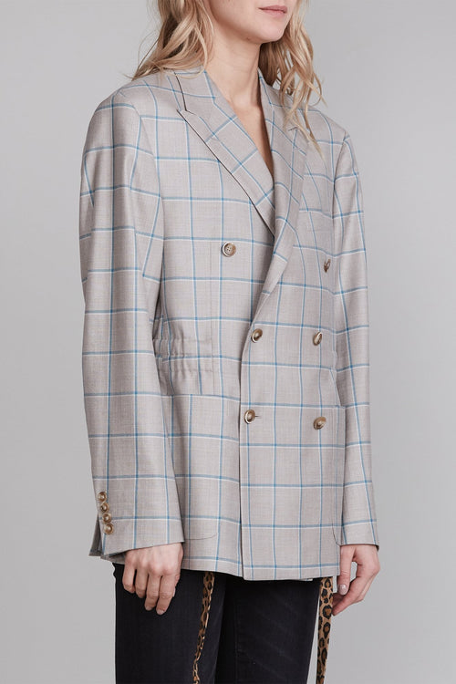 Peak Lapel Double Blazer with Cinched Waist