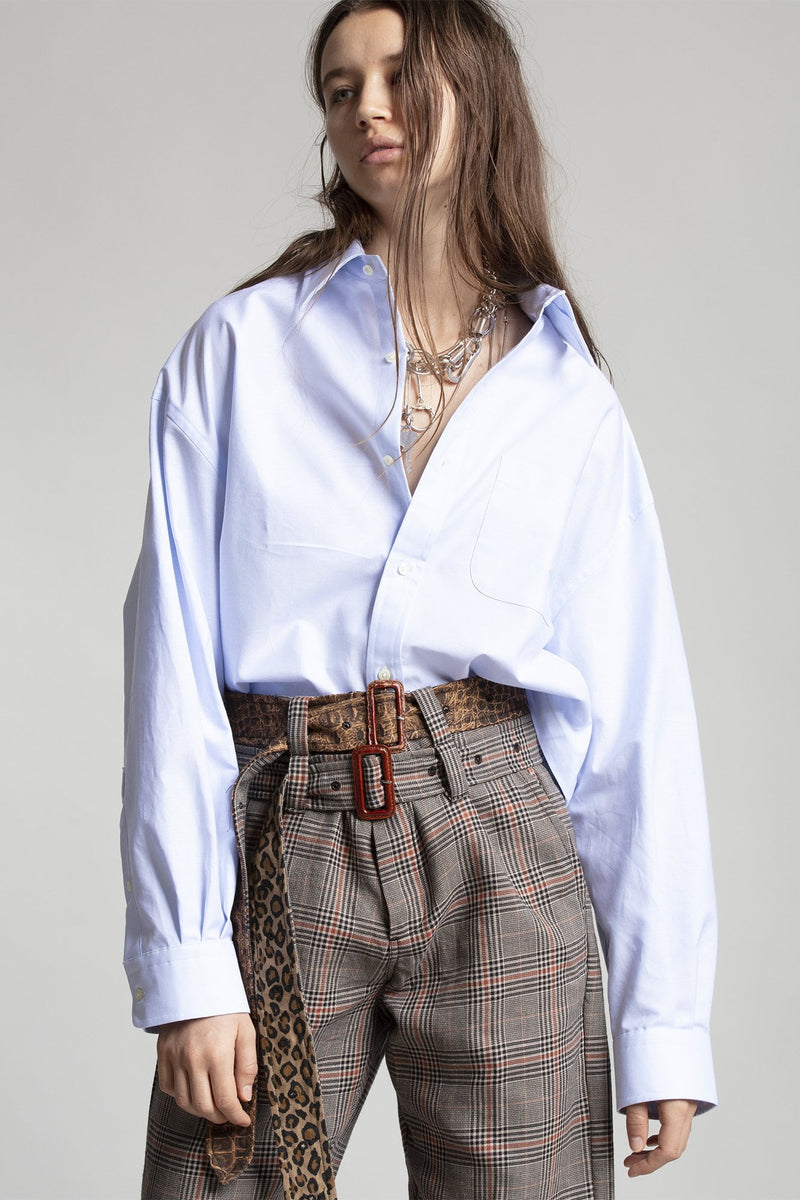 Oversized Cropped Button Up Shirt - Light Blue