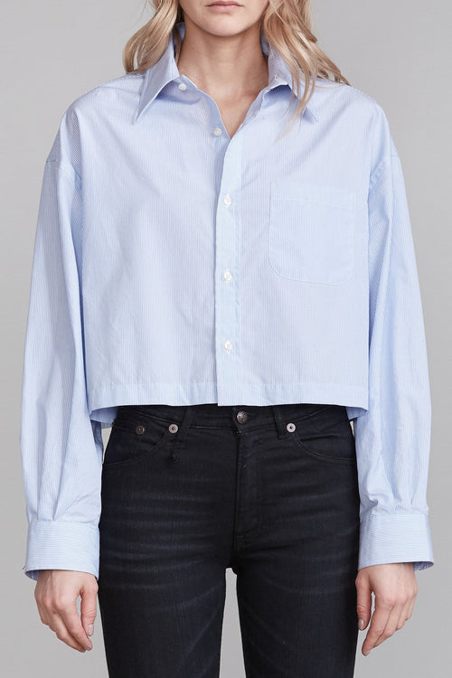 Oversized Cropped Button Up Shirt - Light Blue Stripe