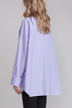 Oversized Button Up Shirt - Light Blue