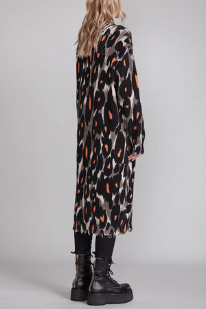 Long Leopard Cardigan - Grey and Orange Leopard