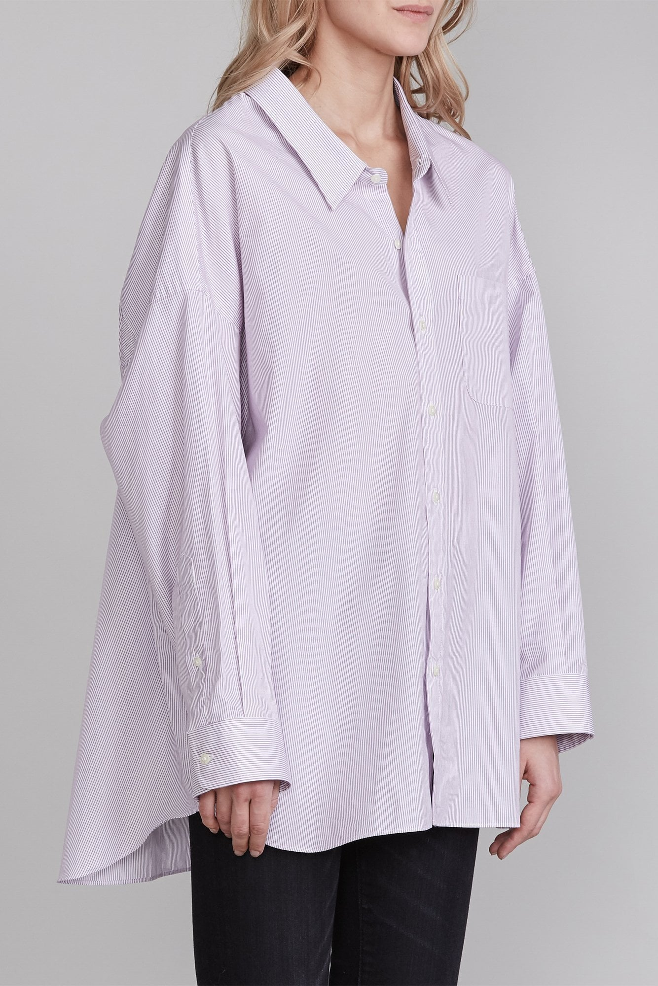 Drop Neck Button Up Shirt - Purple Pinstripe