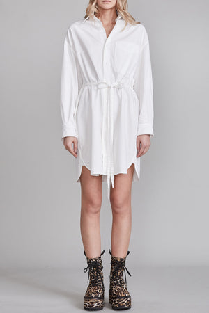 Oversized Oxford Button Up Shirtdress - White