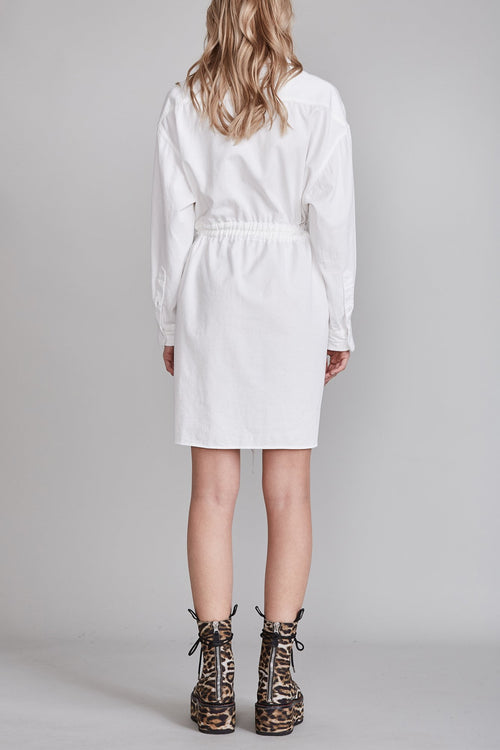 Oversized Oxford Button Up Shirt Dress - White