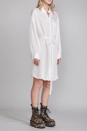 Oversized Button Up Shirtdress - White