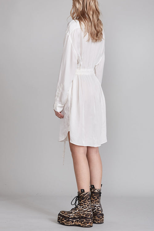 Oversized Button Up Shirt Dress - White