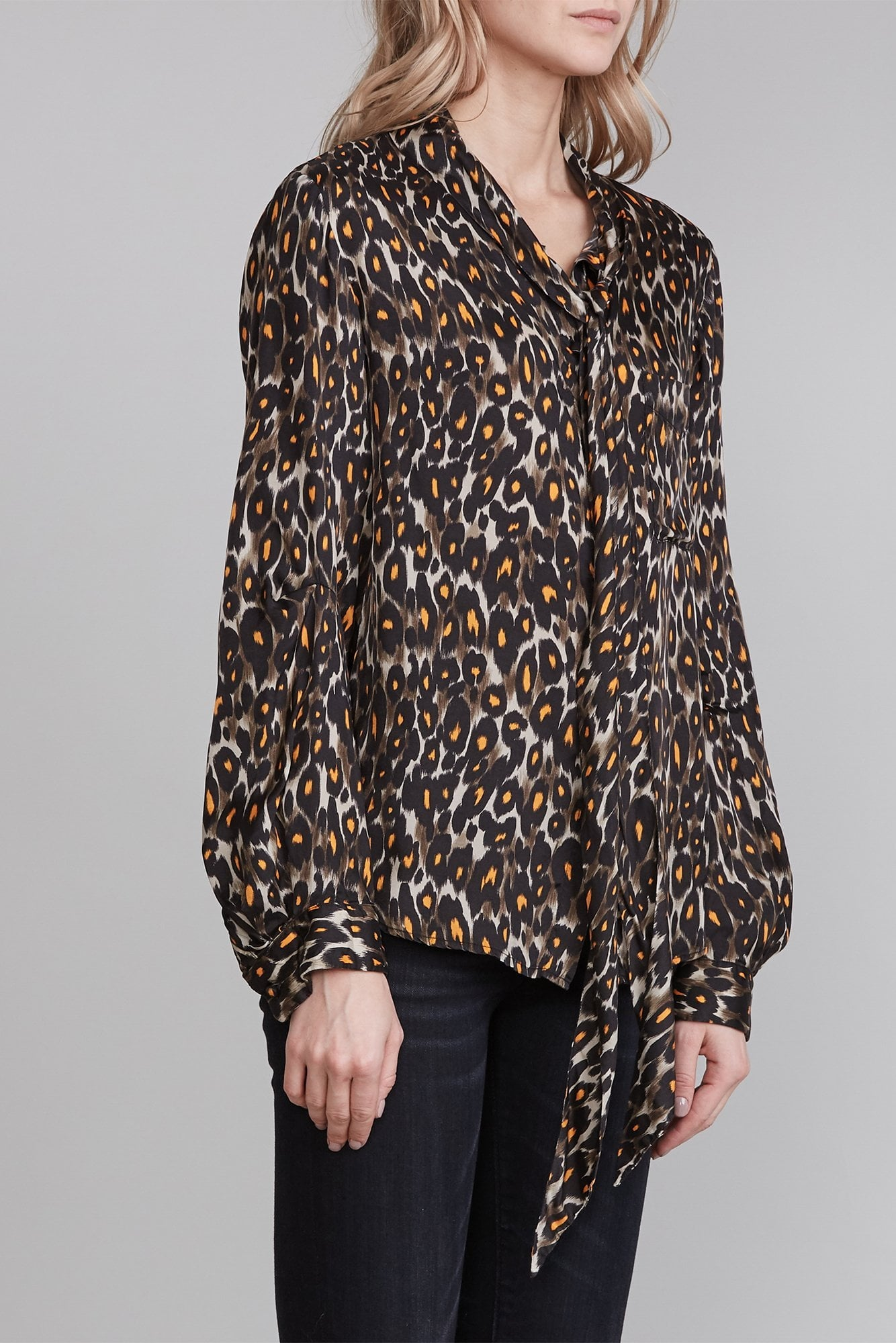 Neck Tie Button Up - Grey Orange Leopard