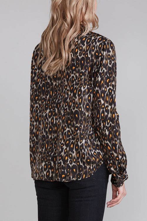 Lavallière Neck Blouse - Grey Orange Leopard