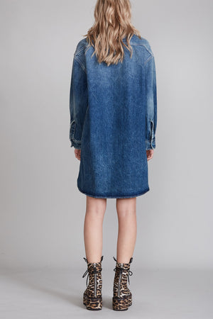 Long Sleeve Shirt Dress - Kelly