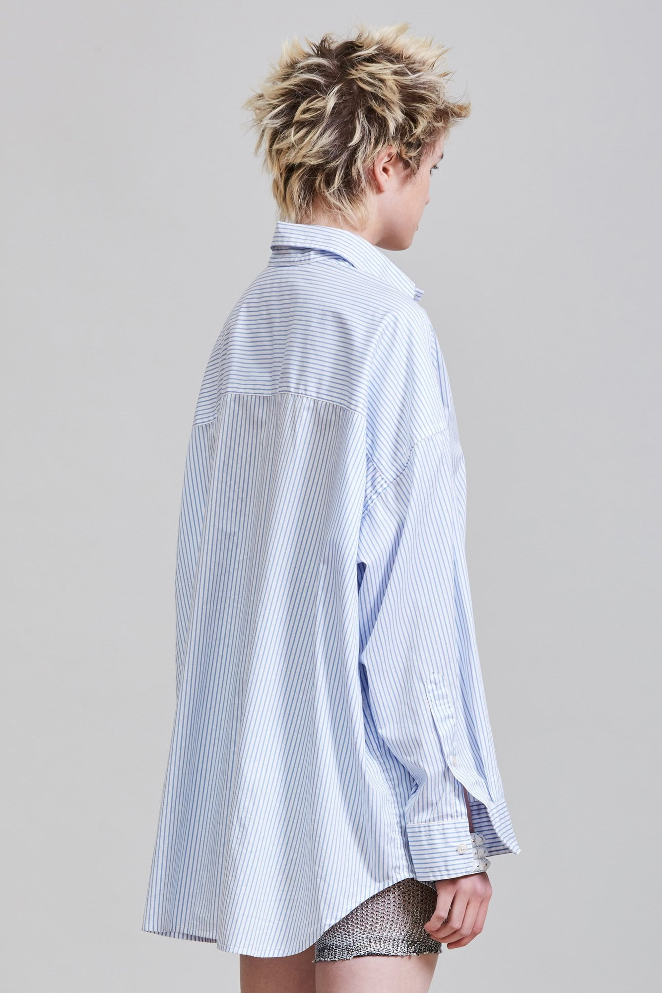 OVERSIZED BUTTON UP SHIRT - BLUE STRIPE