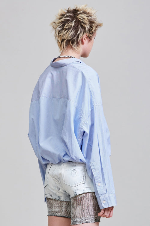 GATHERED HEM SHIRT - LIGHT BLUE PINSTRIPE