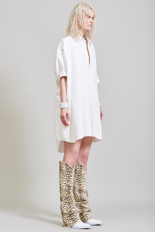 BOXY BUTTON UP DRESS - WHITE