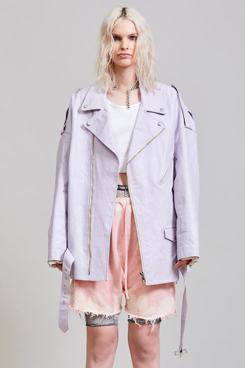 DROP NECK MOTORCYCLE JACKET - LILAC