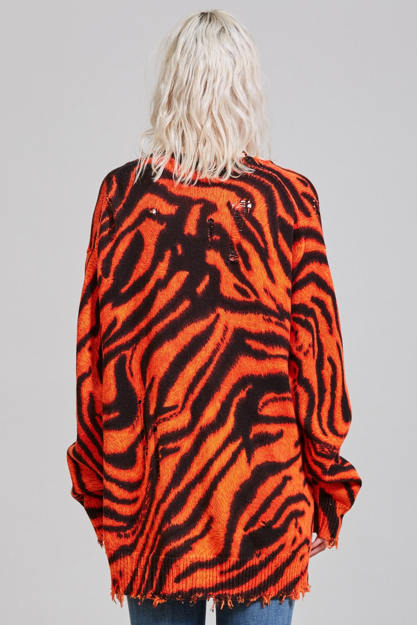 DISTRESSED CARDIGAN - ORANGE ZEBRA