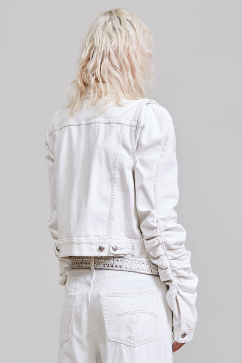 KELSEY SHIRRING DENIM JACKET - BROOKE WHITE