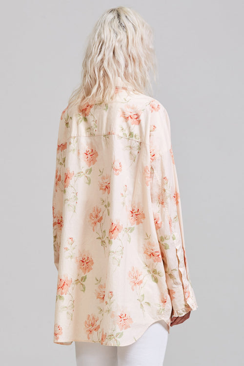 DROP NECK TUXEDO SHIRT - PALE ROSE