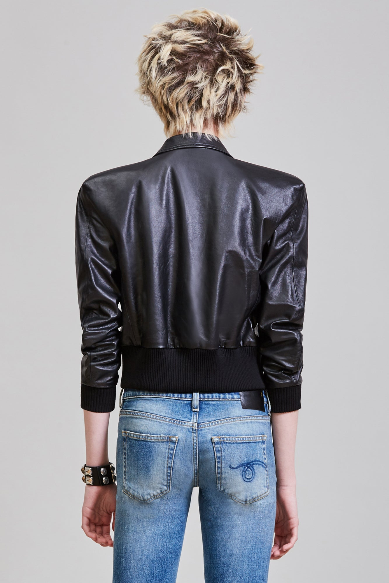SQUARE SHOULDER BOMBER - BLACK
