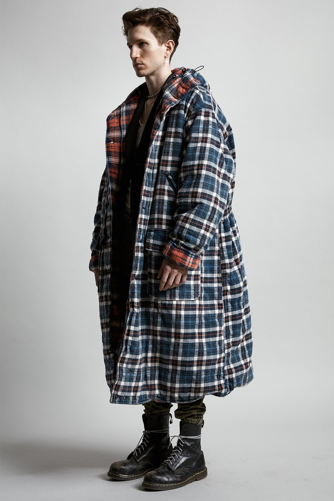 Long Quilted Puffer- Blue and Red Plaid