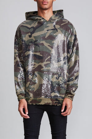 Sequined Hoodie - Camo