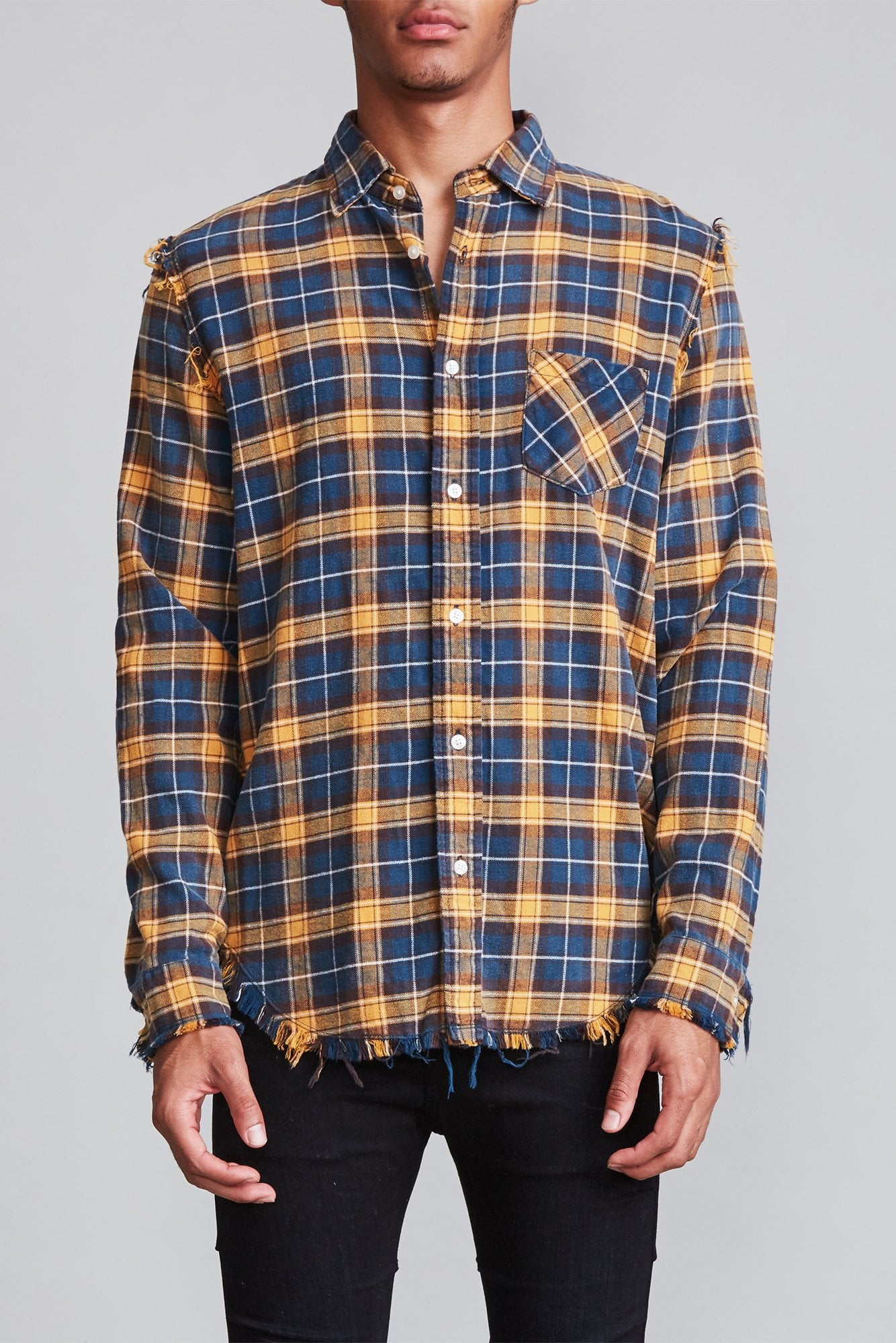 Shredded Seam Shirt - Blue and Yellow Plaid