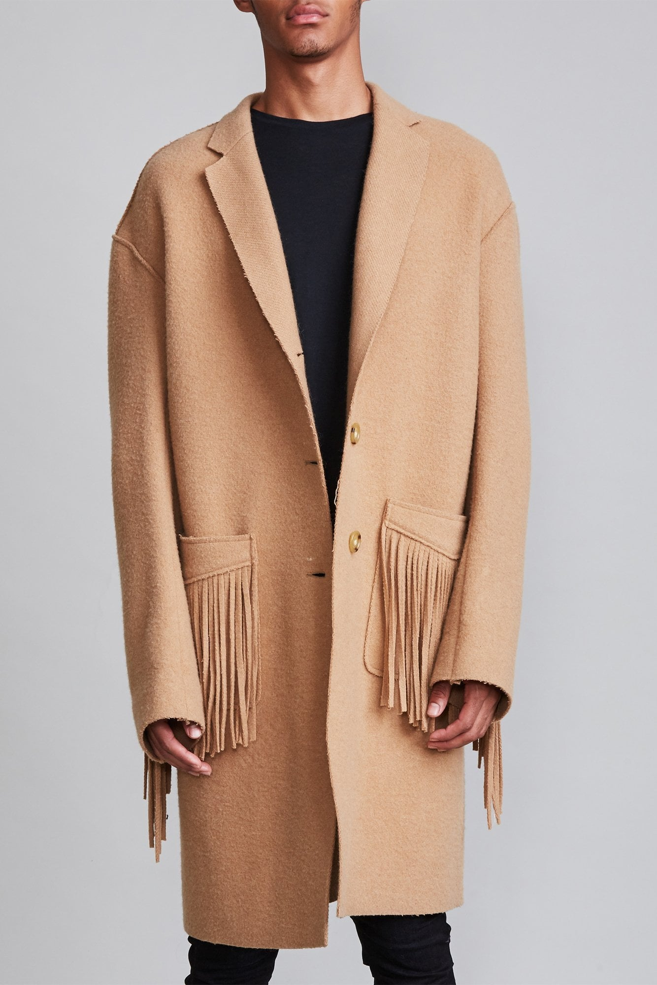 Fringe Raw Cut Coat - Camel
