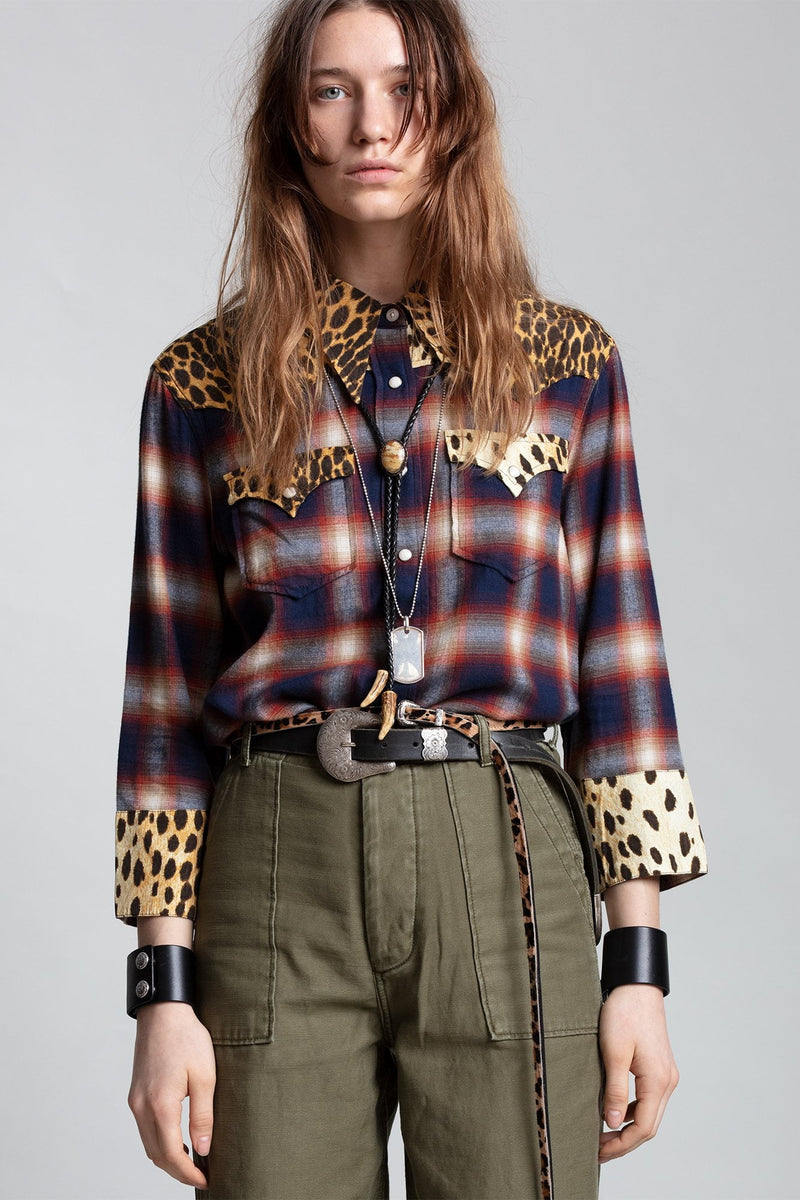 Exaggerated Collar Cowboy Shirt - Red and Navy Plaid with Cheetah