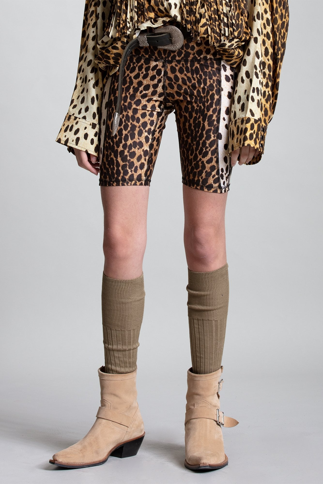 Engineered Biker Shorts - Cheetah