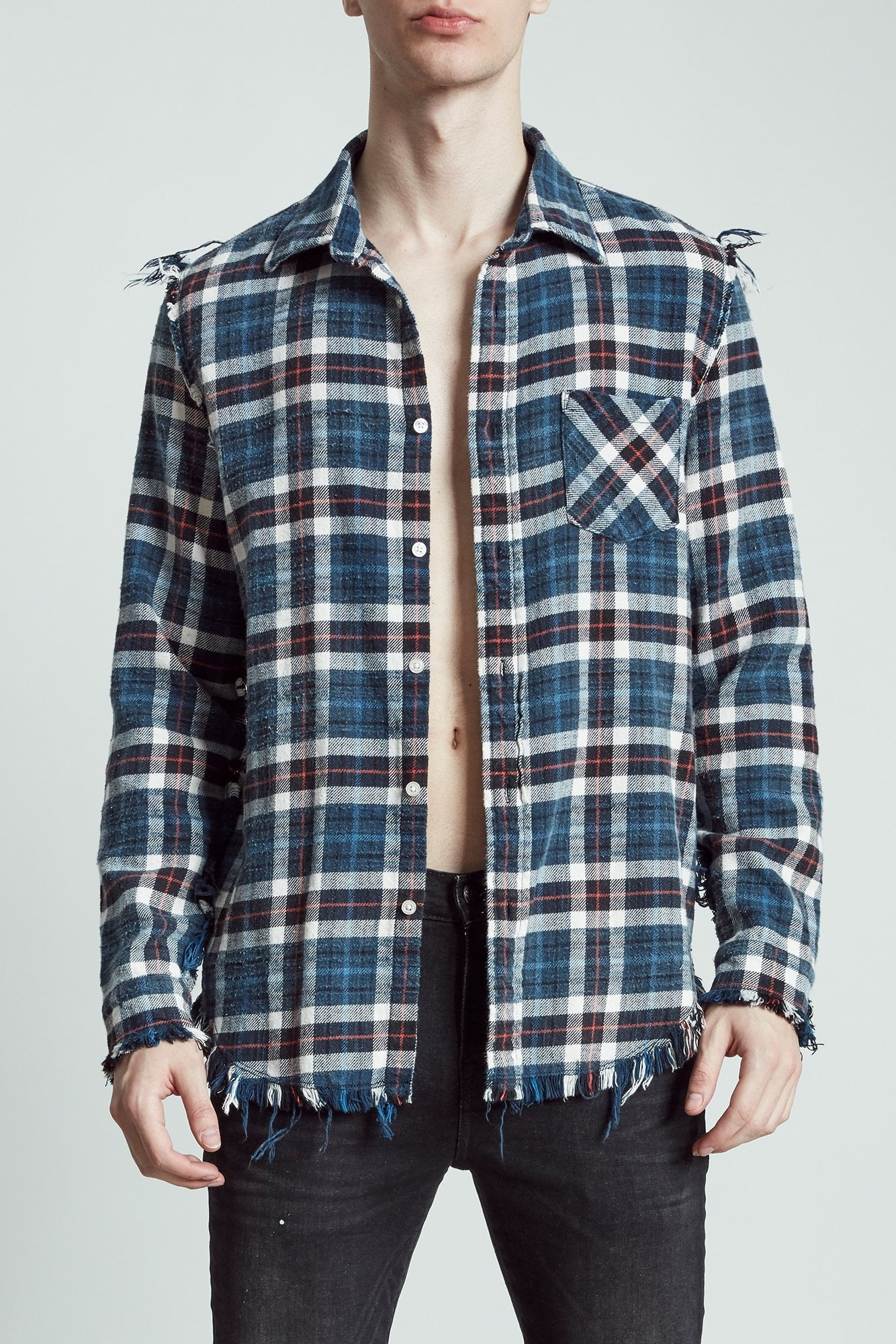 Shredded Slouch Shirt - Blue Plaid