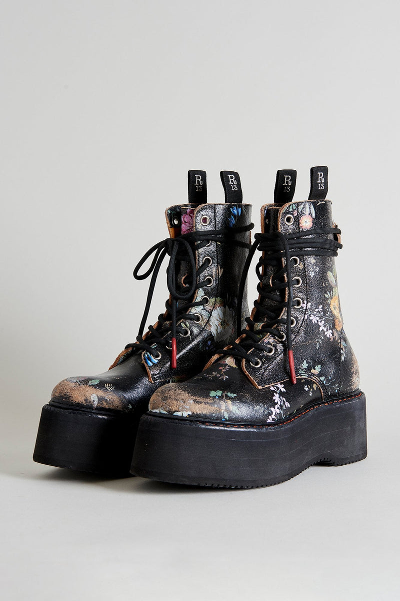 Double Stack Lace Up Boot - Cracked Floral