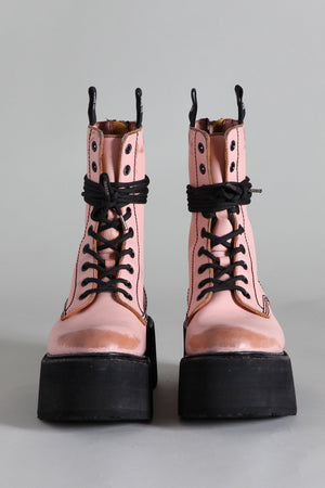 Double Stack Lace-up Boots - Pink
