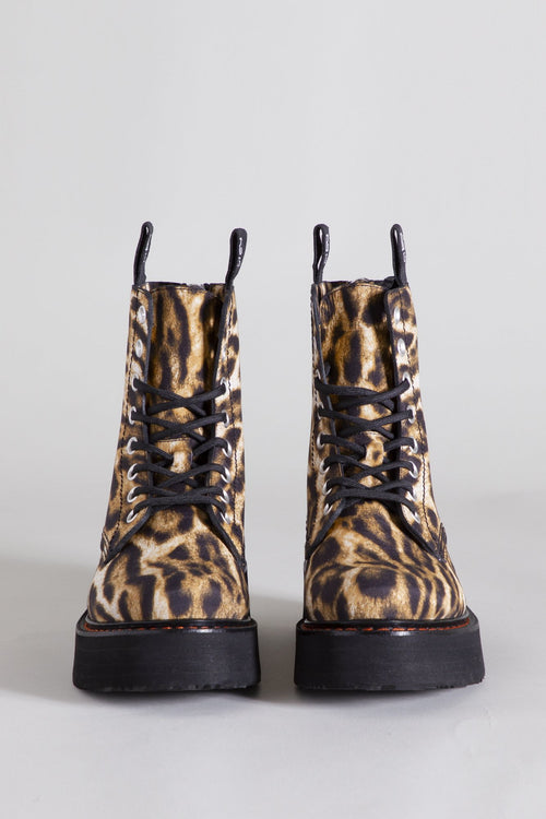 Single Stacked Lace-up Boots - Leopard