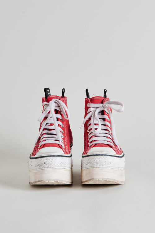 Platform High Top Sneakers - Red