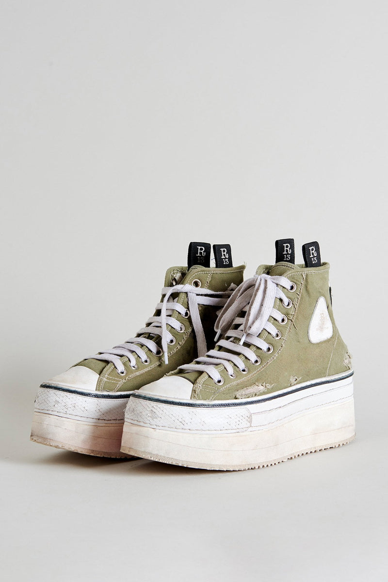 Platform High Top Sneakers - Olive