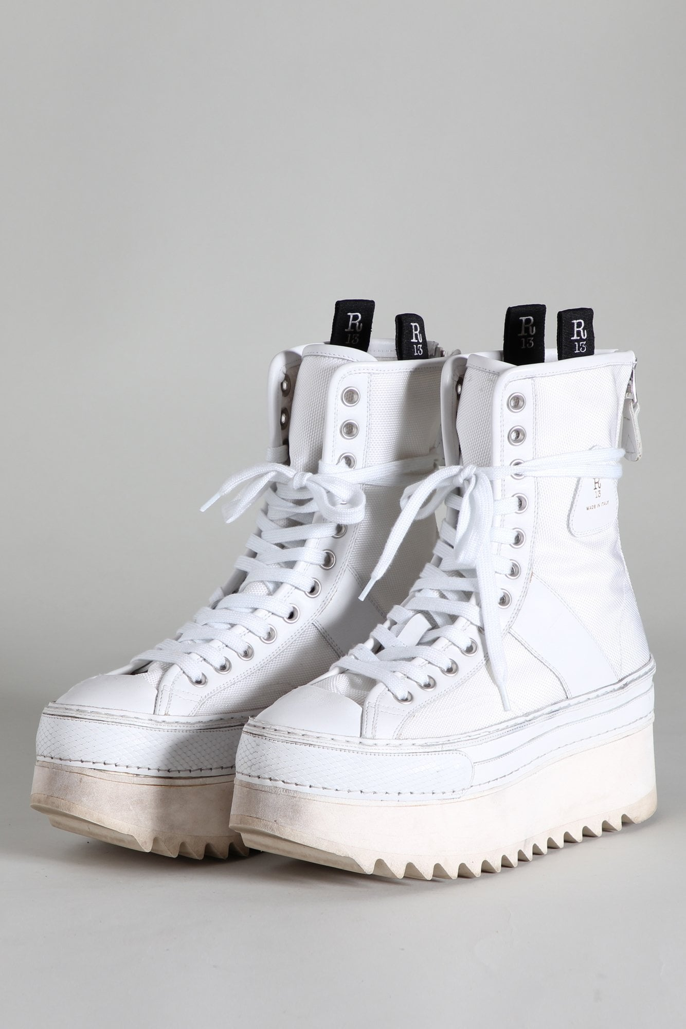 Tall Winter Platform High Top Sneakers - Ecru