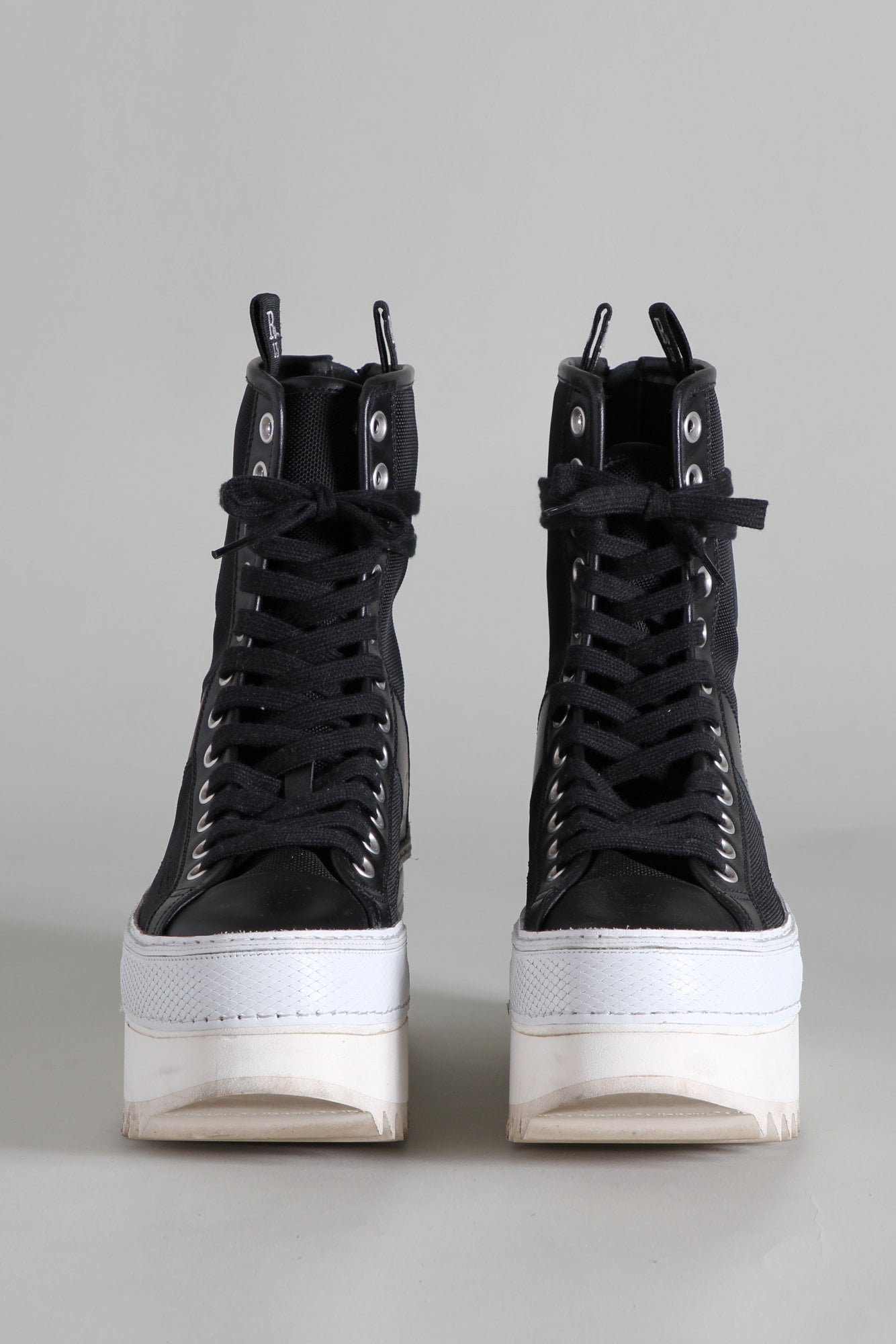Tall Winter Platform High Top Sneakers - Black and Ecru