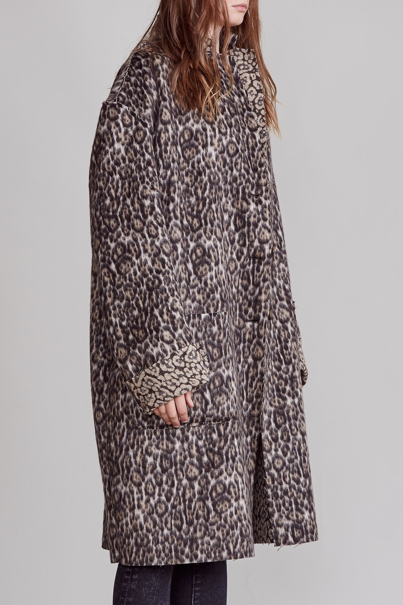 Raw Cut Coat - Leopard