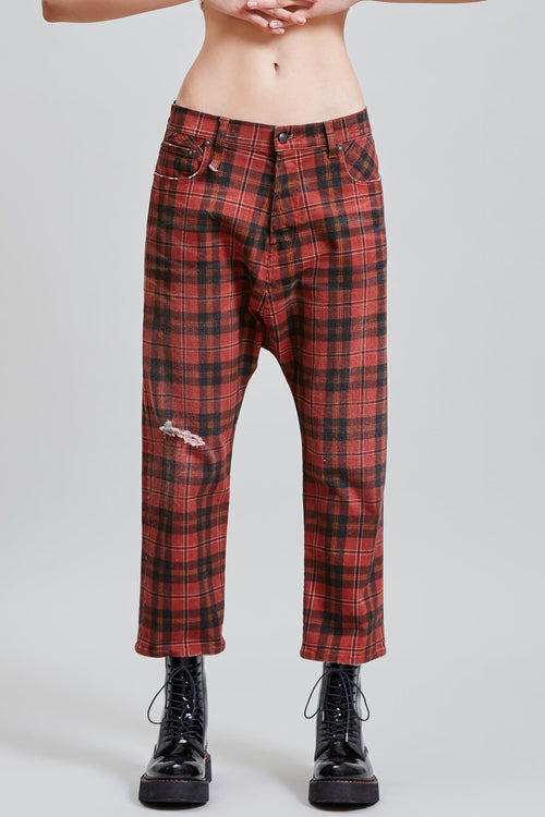 TAILORED DROP JEAN - ASH RED PLAID