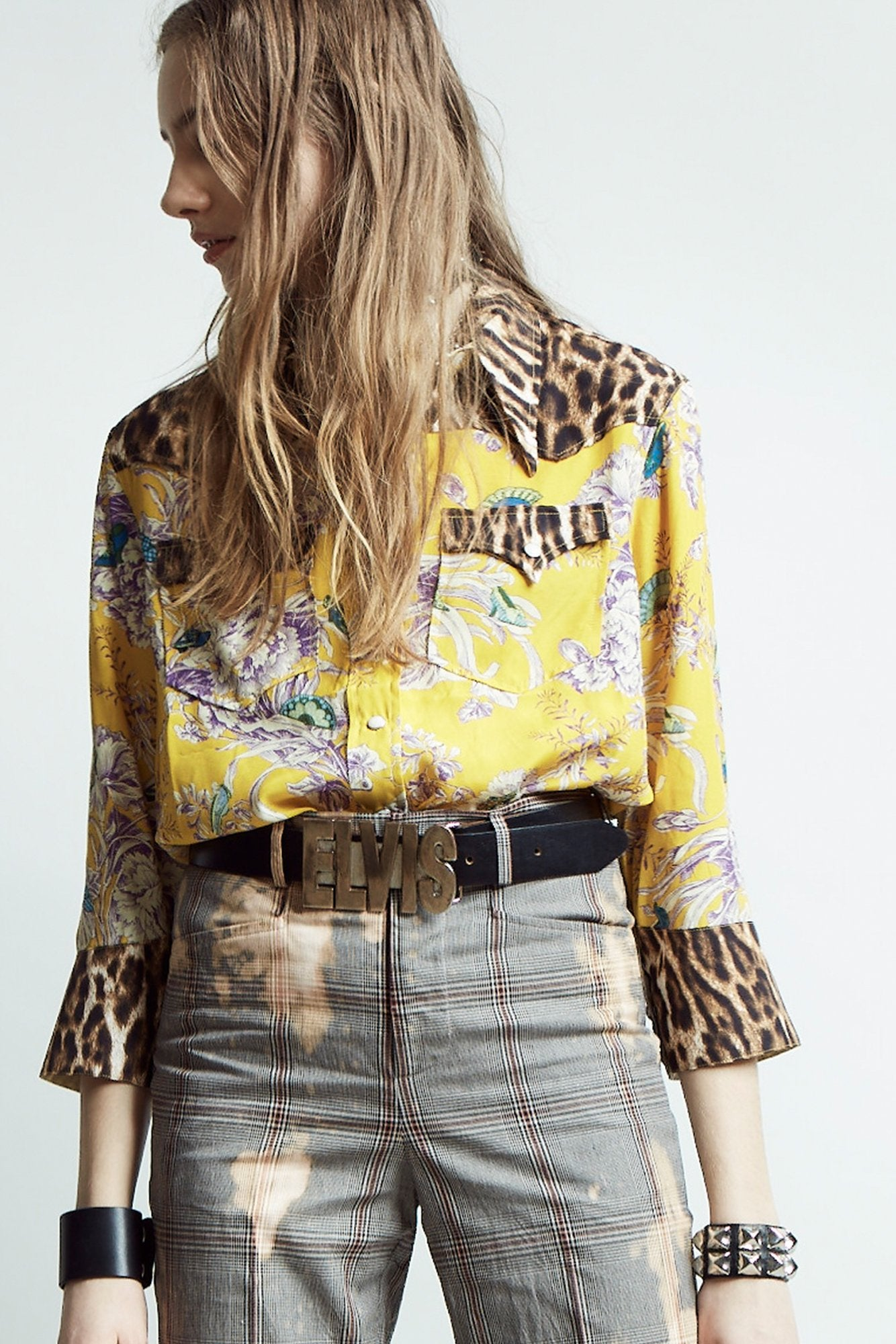Exaggerated Collar Cowboy Shirt- Mustard Floral with Leopard
