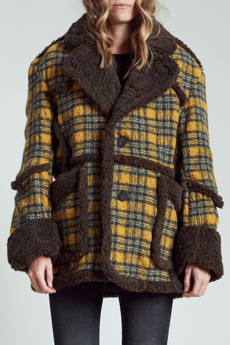 Imitation Sheepskin Coat - Yellow and Blue Plaid