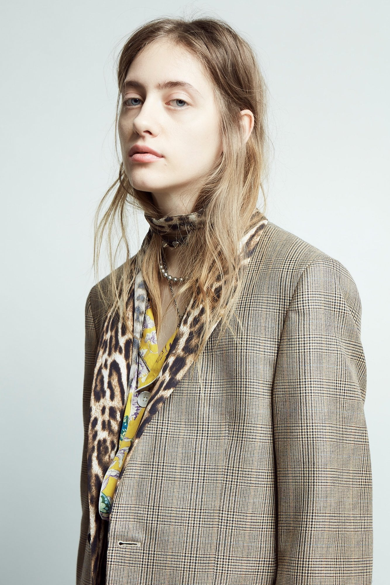 Shawl Lapel Tuxedo- Brown Plaid with Leopard