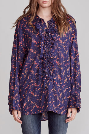 Drop Neck Tuxedo Shirt - Navy Floral