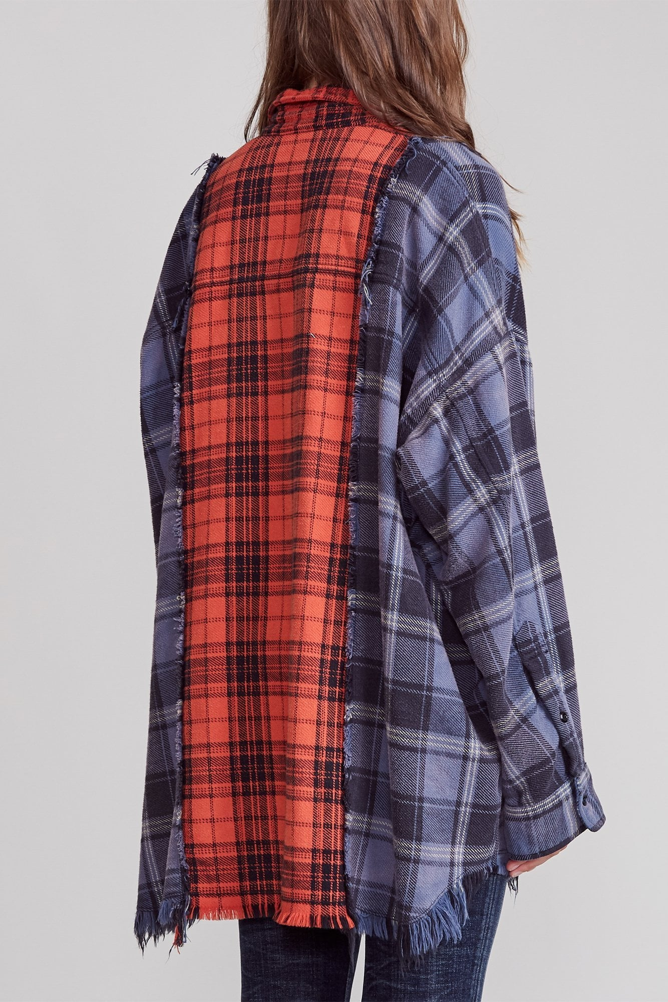 Drop Neck Combo Workshirt - Blue with Red Plaid