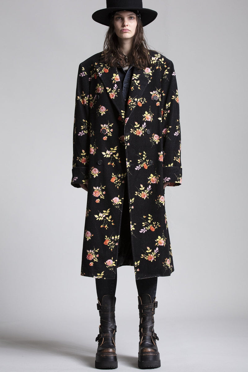 Double-breasted Coat - Black Floral