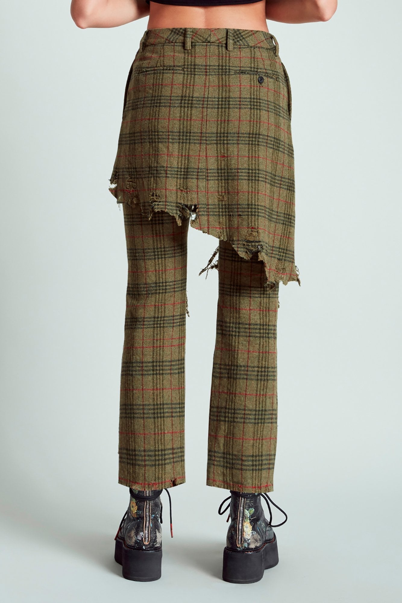 Double Classic Trouser - Green Plaid